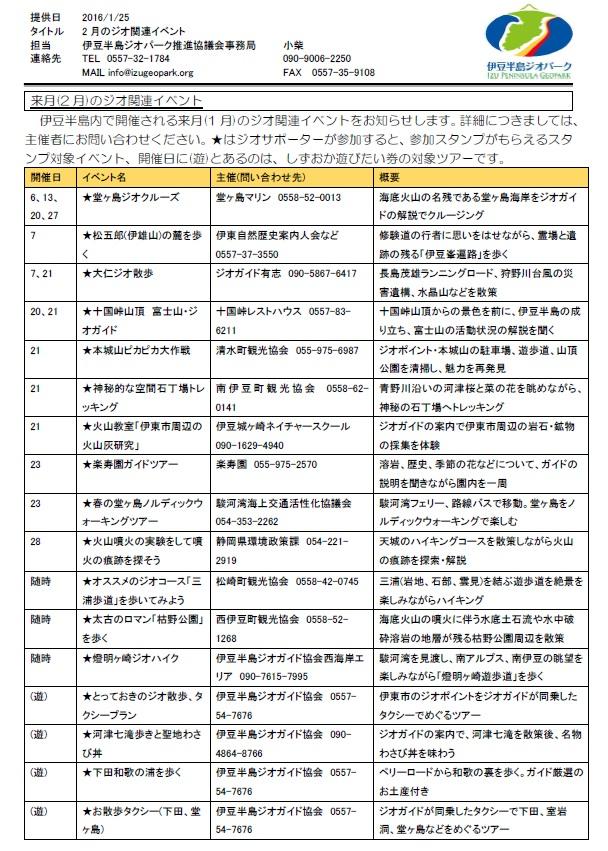 伊豆半島ジオパーク イベント情報2016年2月